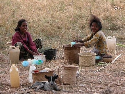 Women preparing lunch for the men harvesting rice in the fields. Peter   Kay Forwood trip on a Harley Davidson to East Timor