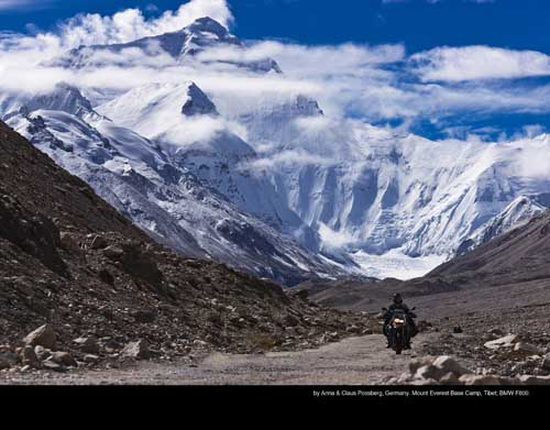 January: by Anna & Claus Possberg, Germany. Mount Everest Base Camp, Tibet; BMW F800.