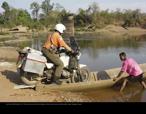 August: by Simon McCarthy, UK. The Americans blew the bridge, but the locals have an alternative. Near Salavan, Laos.