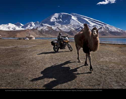 October: by Anna & Claus Possberg, Germany. Camel chase in West China on the border with Pakistan on the Karakoram Highway, Muztag Ata in the background; BMW F800.
