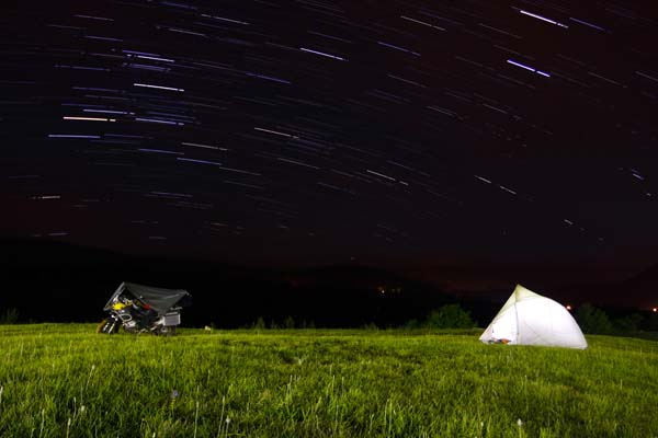 Photo by Poya Pourghaderi, Canada; of 2010 BMW R1200GSA; camping on the hills of Plitvice National Park, Croatia; Europe 2012 tour.