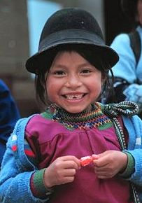 Young girl in Ecuador, says thanks after we gave her a little candy.