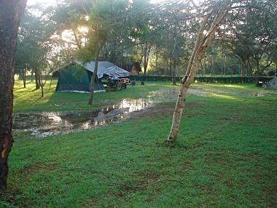 Tanzania campsite after heavy rains.