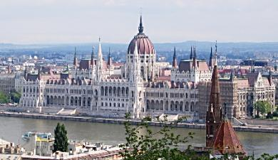 The spectacular Hungarian Parliament looks very imposing close up.