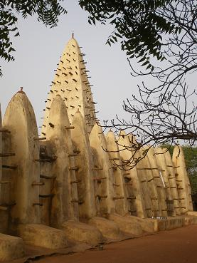 Mud-brick mosque in Bobo Dioulasso, Burkina Faso.