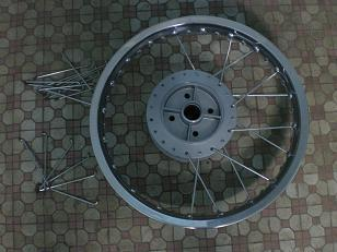 Motorcycle wheel.