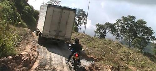 Following trucks in Colombia.