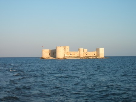 Castle in the middle of the sea in Kizkalesi, Turkey.